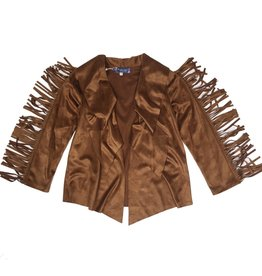 Truly Me Faux Suede Fringe Jacket