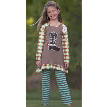 Ann Loren Turquoise Southwestern Boot Tunic And Legging Set