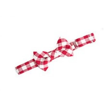Baby Bowtie simple red and white plaid bowtie