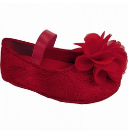 Baby Deer Red Lace Flower Shoes