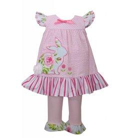Bonnie Baby Aqua Rose Bunny Tunic Set