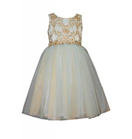 Bonnie Baby Aqua and Gold Tulle Dress