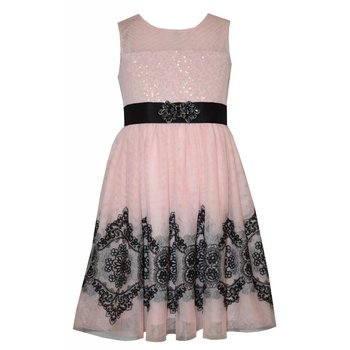 Bonnie Baby Whimsical Mesh Overlay Party Dress