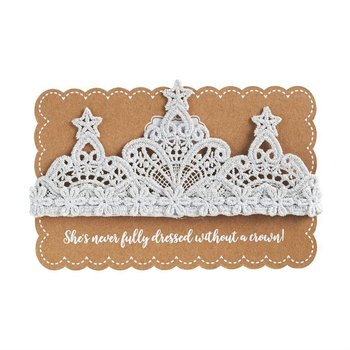 Mud Pie Silver Lace Crown Headband