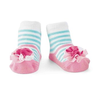 Mud Pie Striped Puff Mary Jane Socks
