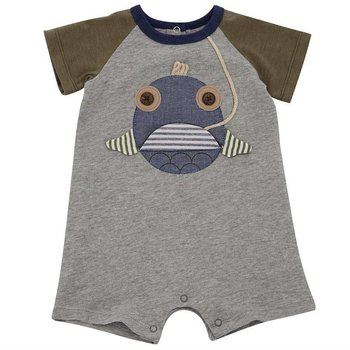Mud Pie Open Mouth Fish Raglan Romper