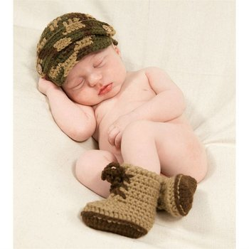 Mud Pie Crochet Army Hat and Boot Set