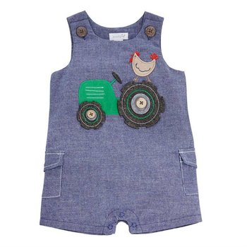 Mud Pie Tractor Chambray Shortall Infant