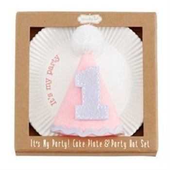 Mud Pie Pink Cake Plate and Party Hat Set