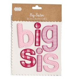 Mud Pie Pink Plaid Big Sis Iron On Patch