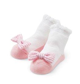 Mud Pie Pink Seersucker Bow Socks