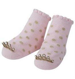 Mud Pie Gold Polka Dot Crown Socks