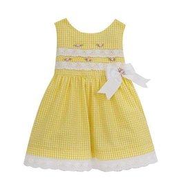 Rare Editions Yellow Seersucker Rose Dress