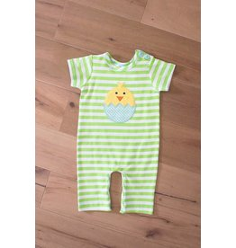 Boys n Berries Lime Green Stripped Boys Egg Romper