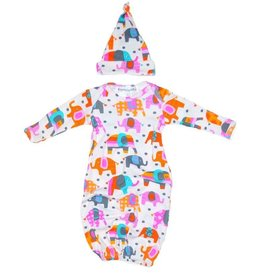 Thingamajiggies 4 Kids Elephant Printed Pajama Gown and Hat