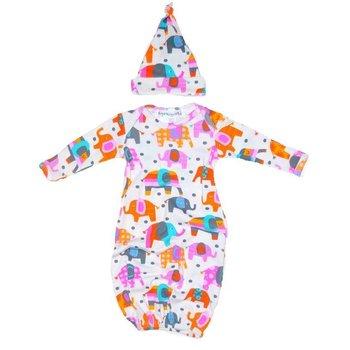Thingamajiggies 4 Kids Elephant Printed Pajama Gown and Hat
