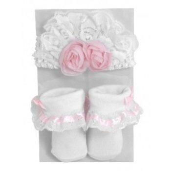 Stephan Baby Shabby Rose Headband/Sock Set