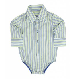Rugged Butts Yellow Grey & Blue Striped Dress Onesie