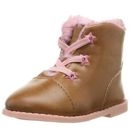 Rugged Bear Brown and Pink Leather Boot