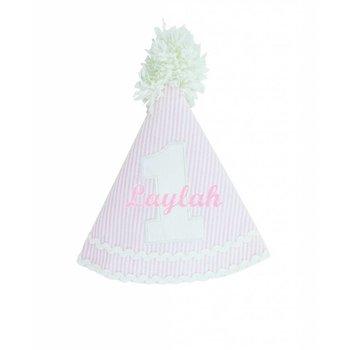 Ruffle Butts Pink Seersucker Birthday Hat