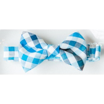 Baby Bowtie Dark Blue and Turquoise Plaid Bowtie