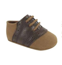 Baby Deer Tan Suede Brown Leather Lace Up Oxford Shoes