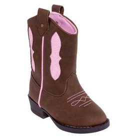 Baby Deer Pink & Brown Cowboy Boots