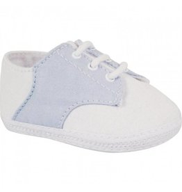 Baby Deer White and Blue Oxford Crib Shoe