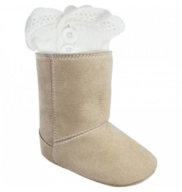 Baby Ganz Ivory Lace Button Boot Socks