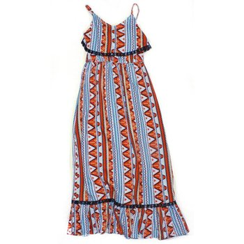 Bela & Nuni Orange and Black Tribal Maxi Dress