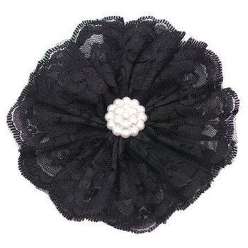 Reflectionz Black Lace & Pearl Flower Clippie