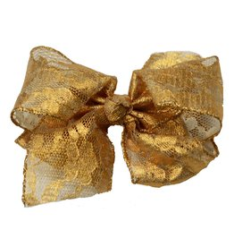 Reflectionz Dark Gold Metallic Lace Bow