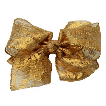 Reflectionz Dark Gold Metallic Lace Bow