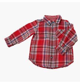 Bit'z Kids Red And Brown  Plaid Reversible Shirt