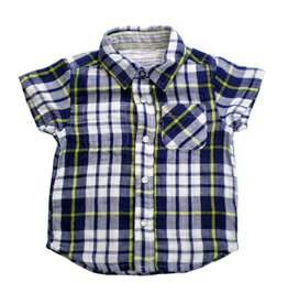 Bit'z Kids Blue and Green Reversible Plaid Pearl Snap