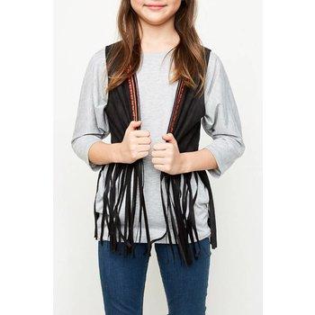 Hayden Black Fringe Vest