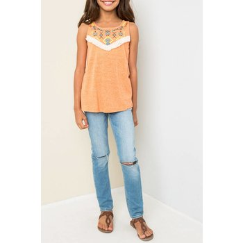 Hayden Tangerine Embroidered Tank