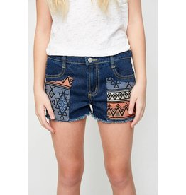 Hayden Dark wash Jacquard Patch Shorts