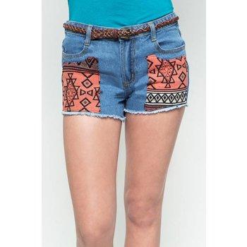 Hayden Light Wash Jacquard Patch Shorts