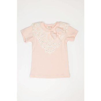 Mae Li Rose Crochet Peach Tunic with Gem and Pearl