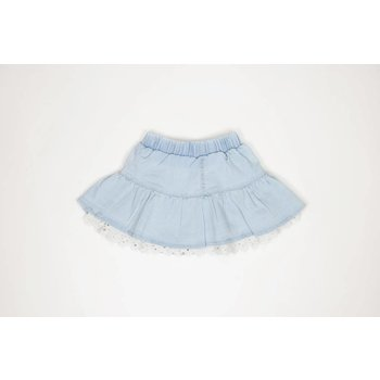 Mae Li Rose Ruffle Denim Skirt