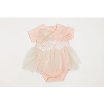 Mae Li Rose Peach Onesie Mesh Dress