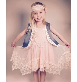 MLKids Peach Lace Tank Dress