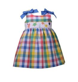 Bonnie Jean Plaid Dress With Smocked Detailing