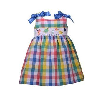 Bonnie Baby Plaid Dress With Smocked Detailing