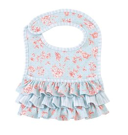 Mud Pie Blue Rose Ruffled Pocket Bib