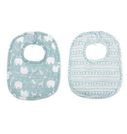 Mud Pie Blue Giraffe Bamboo Bib Set
