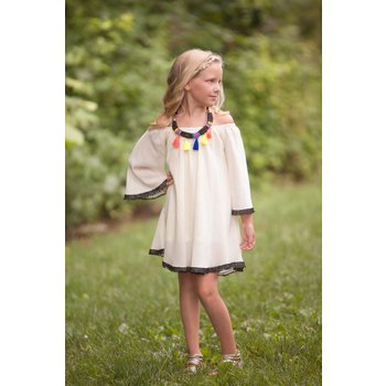 Peaches 'n Cream Ivory Dress with Necklace