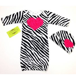 Persnickety Baby Zebra Gown Hot Pink Heart 0-3M