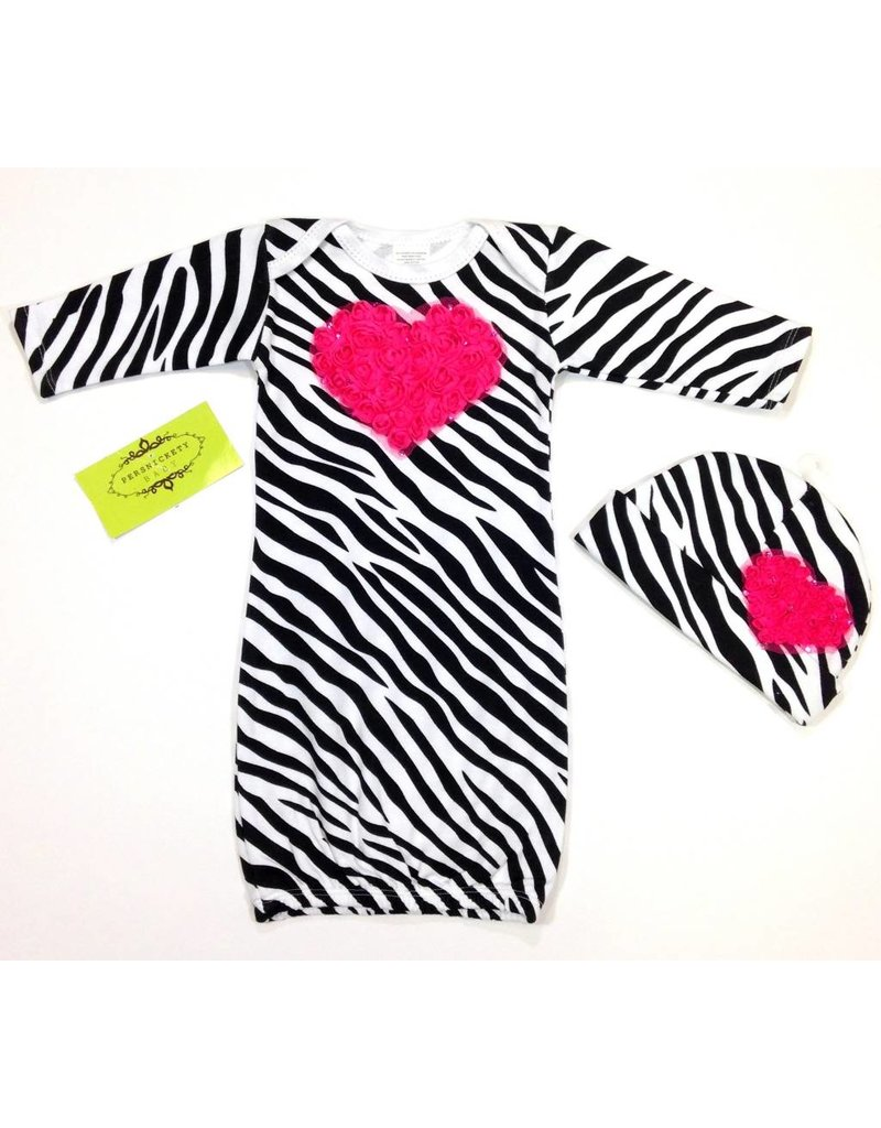 Persnickety Baby Zebra Gown Hot Pink Heart - Peek-a-Bootique
